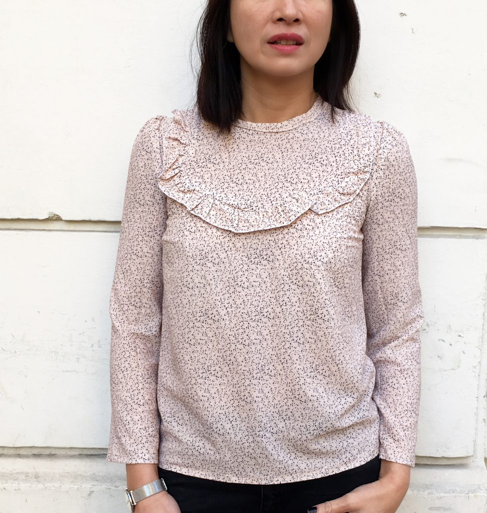 Blouse Ortense by Anna Rose patterns - Crepe nude by Printstand - Jean Zara mode couture