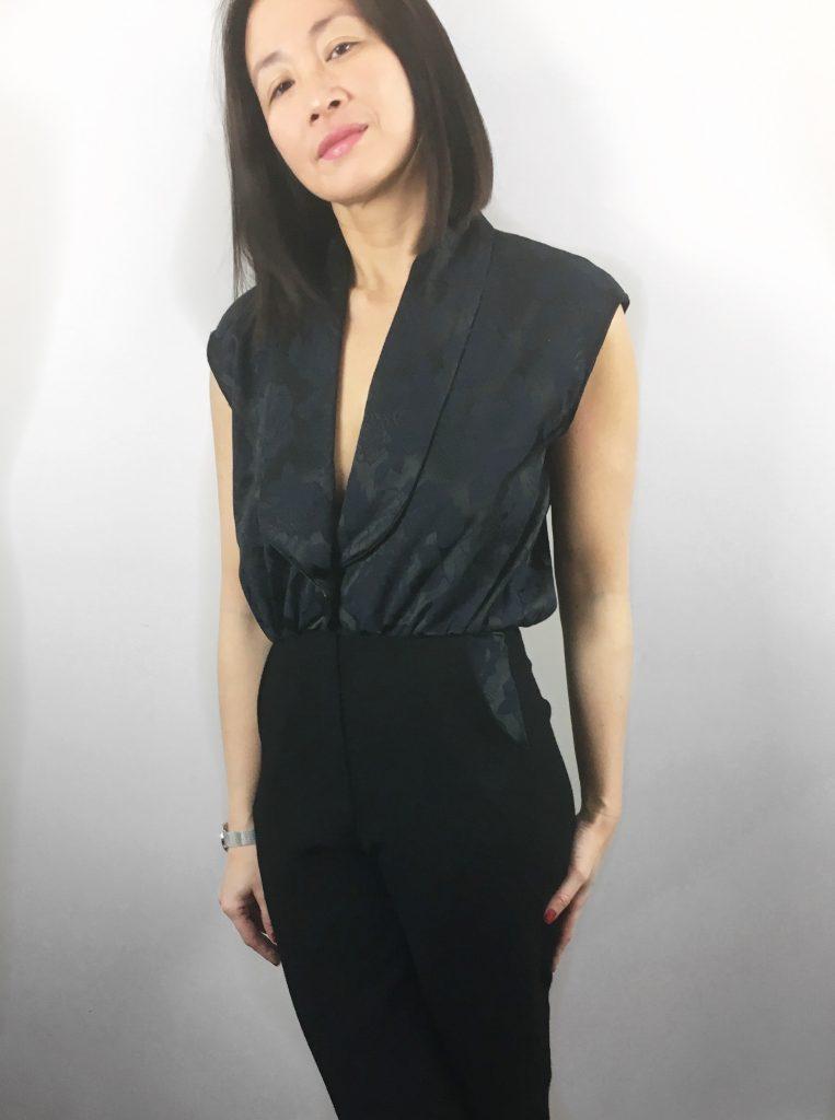 Combinaison Smoking by DP Studio x Modes et travaux - Jacquard Bennytex - Montre Cluse blog mode couture
